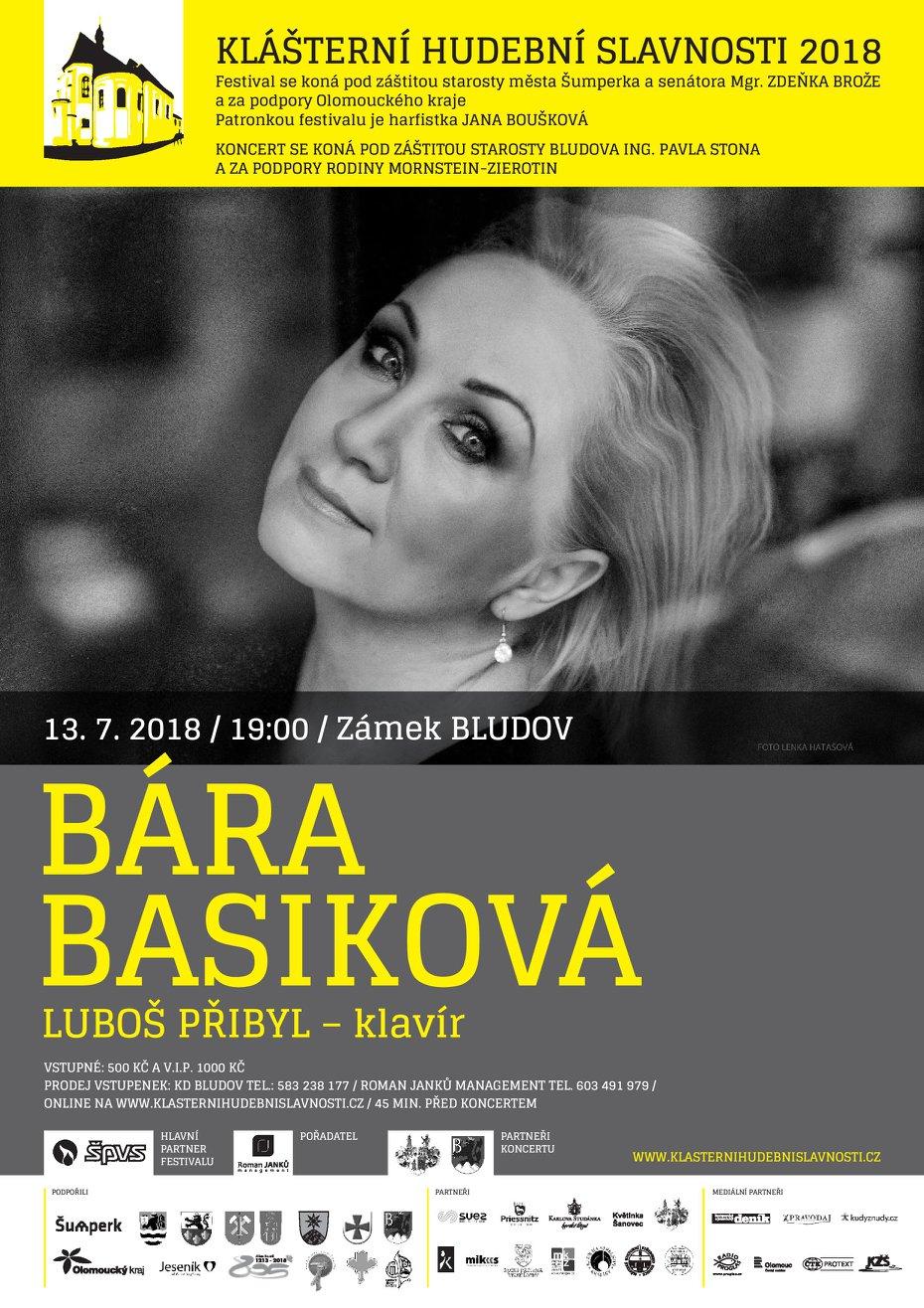 Zámek Bludov (Olomoucký kraj) - Klášterní hudební slavnosti 2018 - koncert zpěvačky Báry Basikové